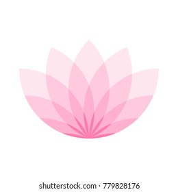 Pink lotus flower icon. Symbol of yoga and beauty. Vector illustration.