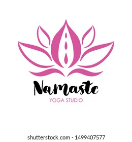 Pink lotus flower and lettering text namaste. Vector illustration of Logo for a yoga studio.