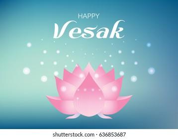 Pink lotus flower on blue and green guardian color  background. Vector illustration for Vesak day on white background