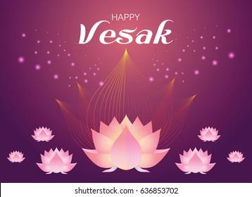 Pink lotus flower on red guardian color  background. Vector illustration for Vesak day on white background