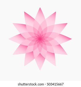 Pink lotus flower on a white background. Isolated object, vector illustration