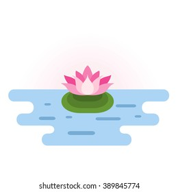 Pink Lotus at pond. Small location pink lotus icon in blue water. Lotus design element. Lotus symbol. Flat vector illustration.