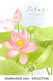 Pink Lotus. Template for wedding invitation, greeting card, banner, gift voucher, label. Vector illustration.