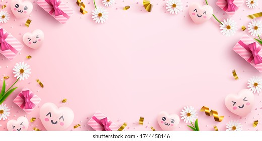 Pink or Love background concept with sweet hearts,flower,pink gift box and lovely element on pink background.Promotion and shopping template or background for Love concept.Vector illustration eps 10