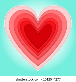 pink love heart of happy valentine's day on sea blue background as paper art and craft style day concept. vector illustrator.