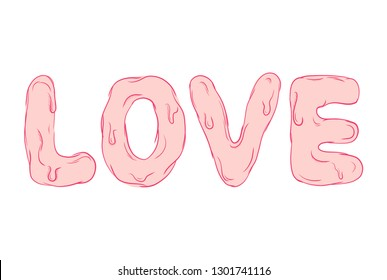 Pink love text. Caligraphy romantic design. Graphic vector melted letter sign