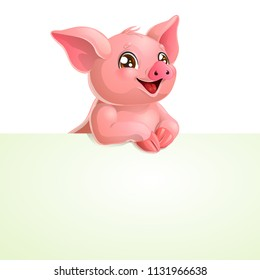 The pink lovely pig with white banner or a poster isolated on white background. A vector illustration in cartoon style