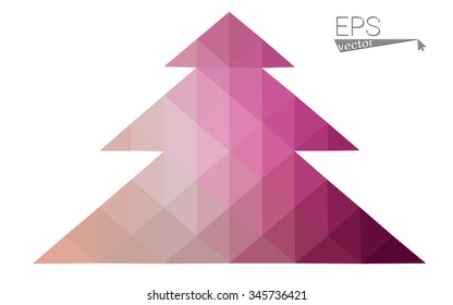 Pink low polygon style christmas tree vector illustration consisting of triangles . Abstract triangular polygonal origami or crystal design of New Years celebration. Isolated on white background.