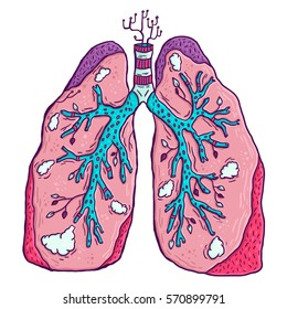 Pink lungs with smoke. Lungs with leaves in cartoon style. Smoke in bronchi.