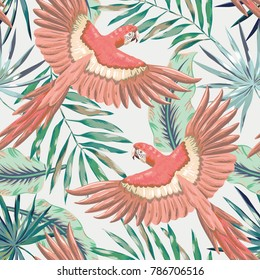 Pink macaw parrots with green palm leaves on the gray background. Vector seamless pattern. Tropical illustration with birds and plants.