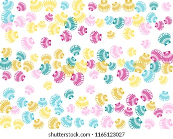 Pink magenta blue yellow seashells vector, pearl bivalved mollusks illustration. Oceanic scallop, bivalve pearl shell, marine mollusk isolated wild life-nature background. Trendy sea shell pattern.