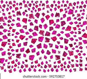 Pink magenta gemstones, hand drawn decorative diamonds for design, clothes, mug, and other prints. Vector Illustration isolated on white background.