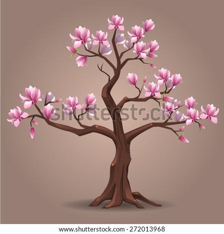 Pink Magnolia Tree Stock Vector Royalty Free 272013968 Shutterstock