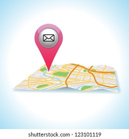pink mail icon gps pointer.