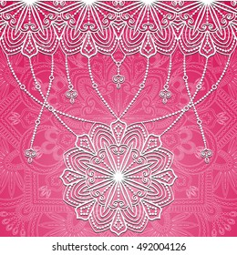 Pink Mandala pattern. Ethnic decorative elements. Hand drawn background. Islam, Arabic, Indian, ottoman motifs.