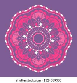 Pink mandala pattern on purple background