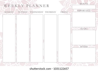 Pink mandalas weekly planner, stationery organizer for daily plans, floral vector weekly planner template, schedules