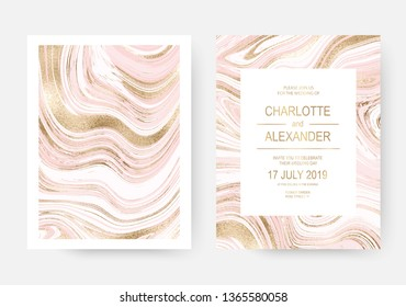 Pink marble celebration invitation design cards with gold waves.