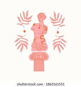 Pink marble statue of Venus, column, branches. Greek ancient statue with modern Tattoos. T-shirt print design template. Hand drawn trendy Vector illustration. Isolated on white