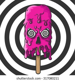 Pink melting Skull of ice cream with hypnotic eyes in horror pop-art style for Halloween
