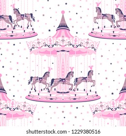 Pink merry-go-round seamless pattern. Carousel with horse. Amusement ride for childrens entertainment. Vector illustration can be used for textile, wallpaper, greeting card backdrop, phone case print.