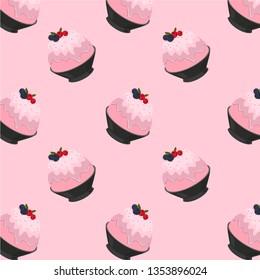 Pink Milk Kakigori or Bingsu Cartoon Pattern on Pink Background, Vector Illustration