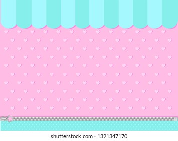 Pink and mint turquoise background with little hearts. Candy shop  showcase backdrop. Decoration banner themed Lol surprise doll Princess girlish style. Invite card template. Baby shower gender reveal