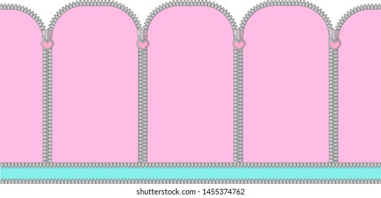 Pink and mint turquoise seamless background with arched window . Candy shop showcase backdrop. Decoration banner themed Lol doll Princess girlish photo booth zone. Baby shower gender reveal. Zipper