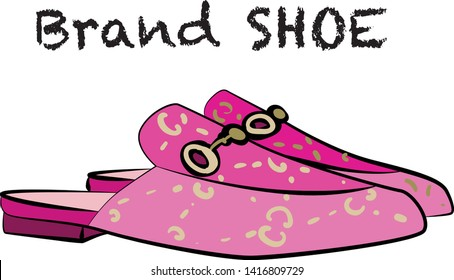 pink moccasin  woman shoes Fashion illustration vector  object isolated