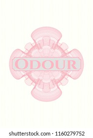 Pink money style emblem or rosette with text Odour inside