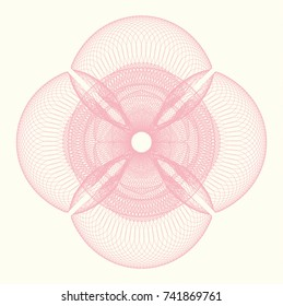 Pink money style emblem or rosette