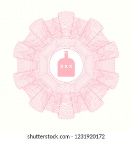 Pink money style rosette with bottle of alcohol icon inside