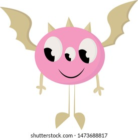 A pink monster with three eyes and a wings like a bat, vector, color drawing or illustration.
