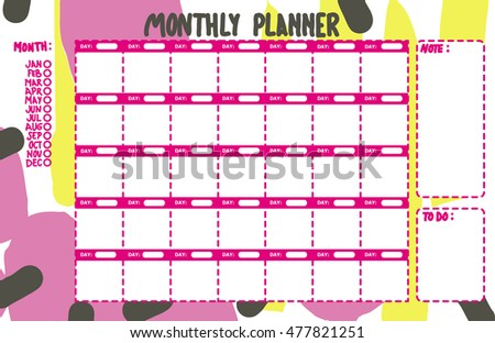 pink monthly planner printable colorful fun stock vector royalty