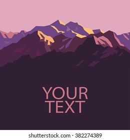 Pink Mountains. Place for text. Simple vector.
