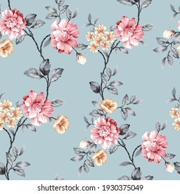 pink and mustered vector flowers with grey leaves pattern on blue background