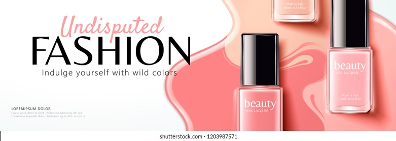 Pink nail lacquer banner ads in 3d illustration, flat lay perspective
