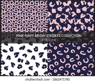 Pink Navy Brush strokes pattern collection includes 4 designs for fashion prints, graphics, backgrounds