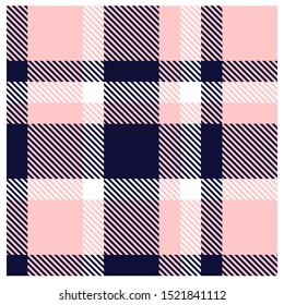 Pink & Navy Plaid Tartan Seamless Pattern in Vector for shirt printing, jacquard patterns, graphics