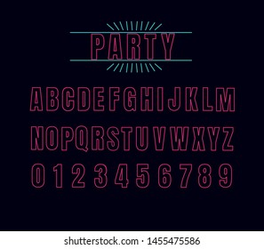 "Pink Neon alphabet font. multicolored font letters and numbers.  font named ""PARTY"" with label design."