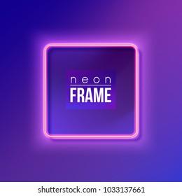 Pink neon frame, billboard. Vector illustration