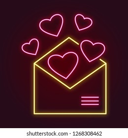 pink neon hearts flying out of an open yellow envelope. vector romantic illustration for valentine's day