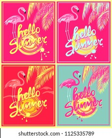 Pink, neon red and mint color background variation with hello summer hand drawing lettering, yellow abstract sun, palm leaves and pink flamingo. Art deco style design for summery party poster and t sh