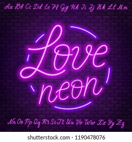 Pink neon script. Uppercase and lowercase letters.