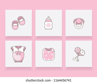 Pink newborn baby girl icon set with booties, bottle, pacifier, romper suit, burb cloth and rattle toy