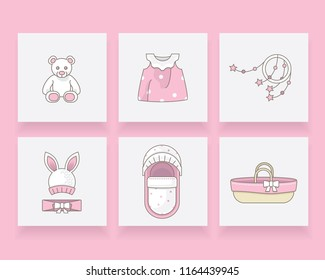 Pink newborn baby girl icon set with bear, dress, mobile toy, rabbit hat, headband, pram and Moses basket