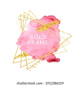 Pink and nude brush strokes and gold frame. Abstract vector watercolor background.
