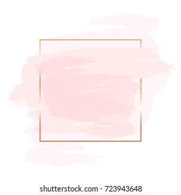Pink and nude brush strokes and gold frame. Abstract vector background.