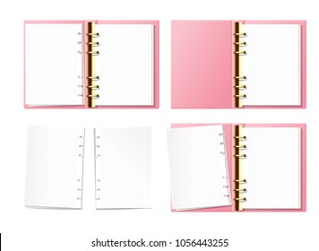 Pink open notebook, bullet journal, planner, diary with gold furniture top view. Paper with dot texture. Opened ring book with clear blank pages. Torn pages set.