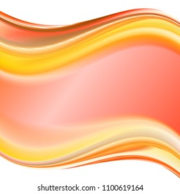 Pink and orange gradient abstract background for business artwork. Abstract colorful minimalistic clean business background with abstract waves motive. With space for text.